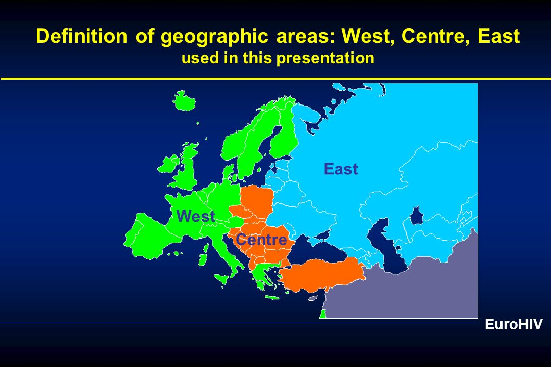 Definition of geographic areas: West, Centre, East
