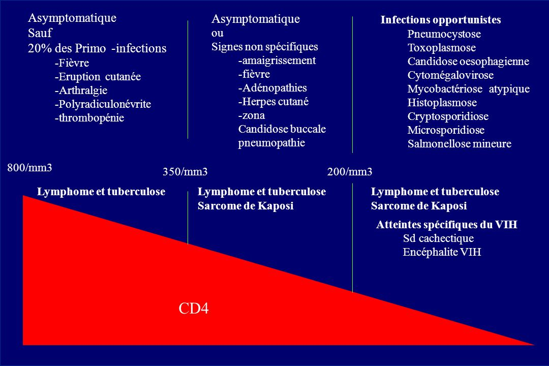 CD4 Asymptomatique Sauf 20% des Primo - infections 800/mm3 350/mm3