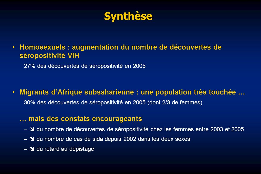 Synthèse Homosexuels : augmentation du nombre de découvertes de séropositivité VIH. 27% des découvertes de séropositivité en 2005.