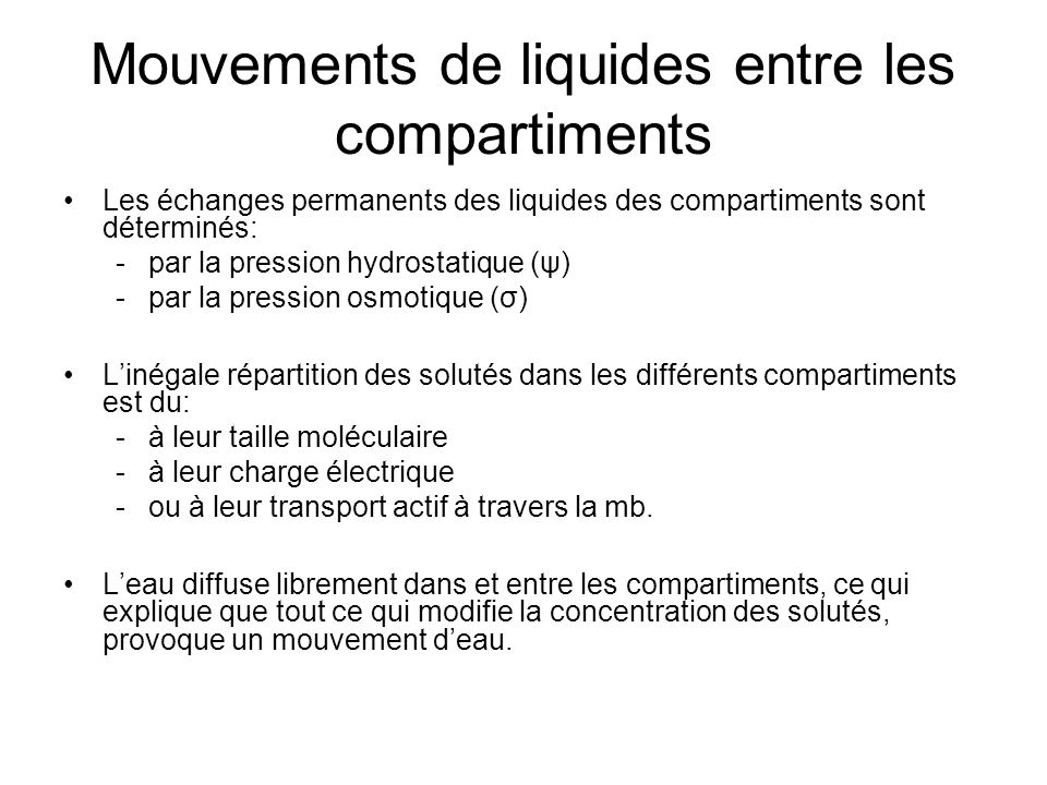 Mouvements de liquides entre les compartiments