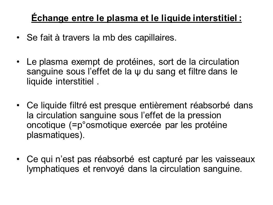 Échange entre le plasma et le liquide interstitiel :