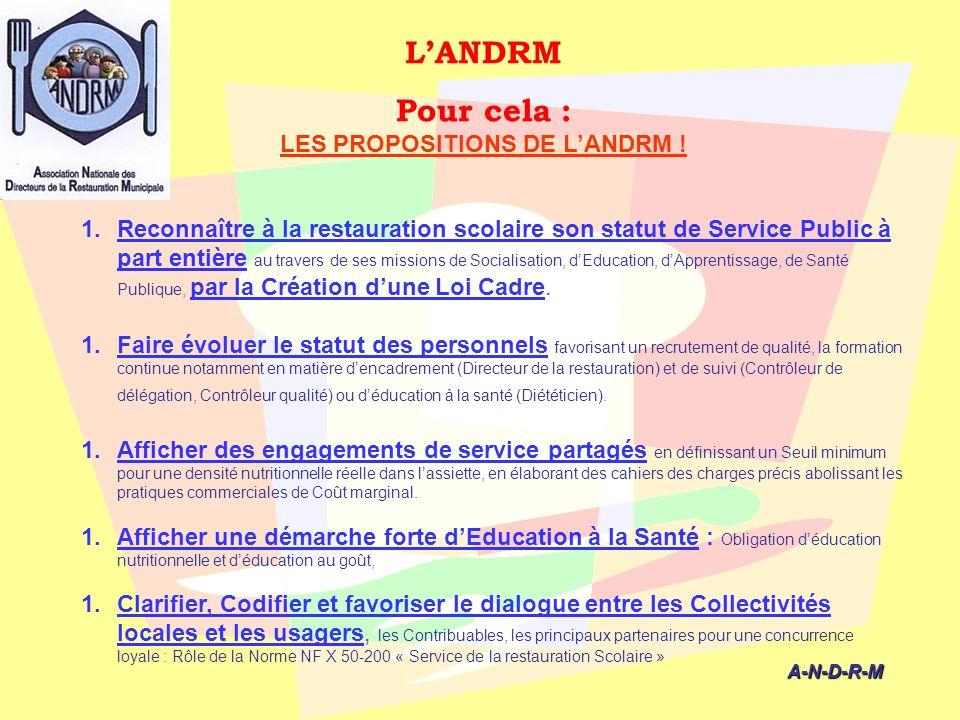 LES PROPOSITIONS DE L'ANDRM !