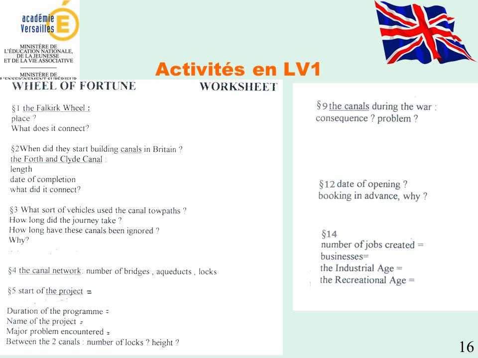 Activités en LV1 16