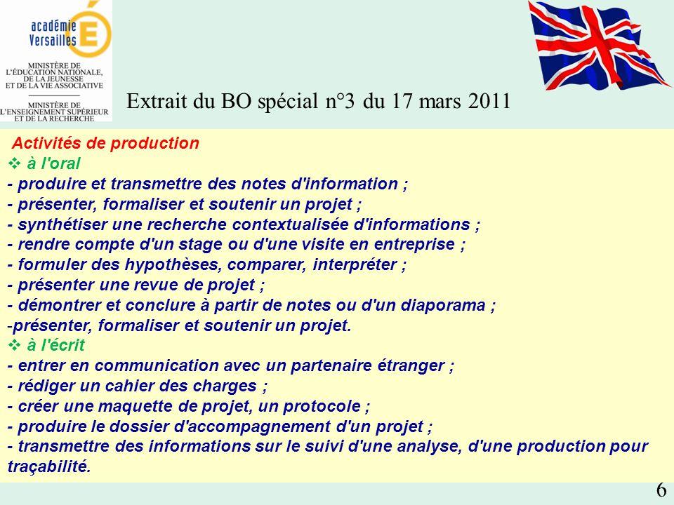 Extrait du BO spécial n°3 du 17 mars 2011