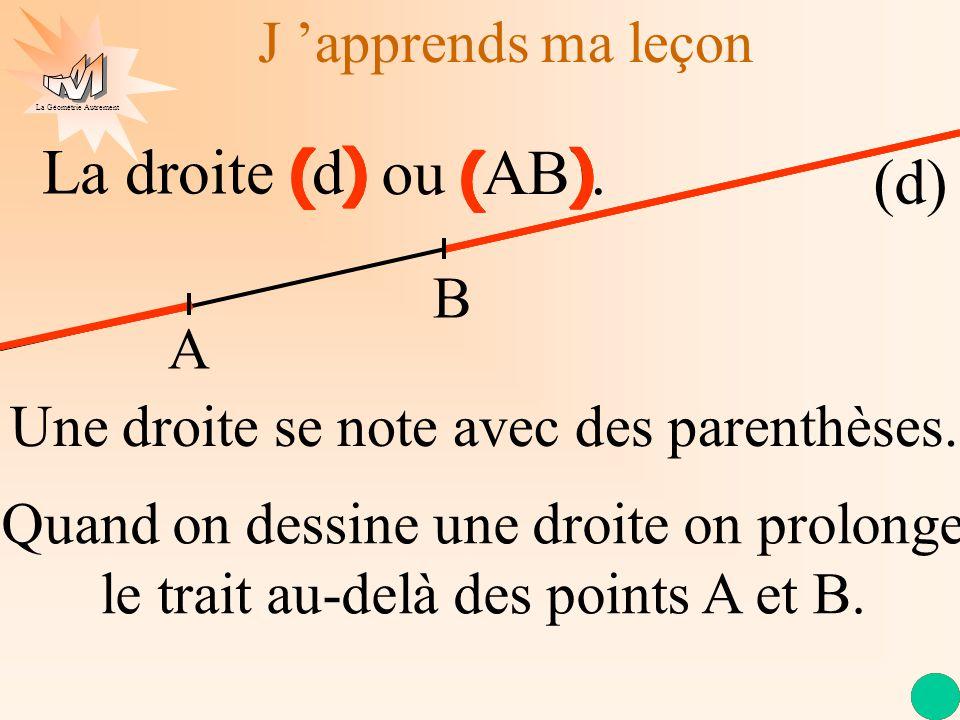 La droite (d) ) ( ) ( ) ( ) ( ) ( ou (AB). (d) J 'apprends ma leçon B