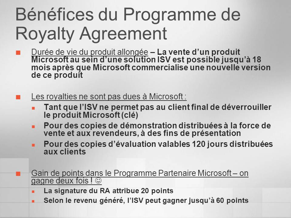 Bénéfices du Programme de Royalty Agreement