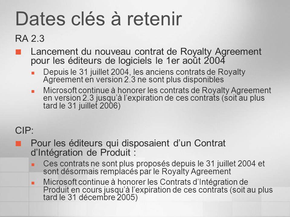 Dates clés à retenir RA 2.3. Lancement du nouveau contrat de Royalty Agreement pour les éditeurs de logiciels le 1er août 2004.