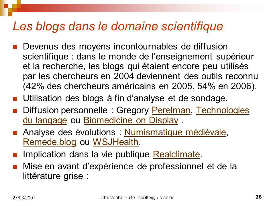 Les blogs dans le domaine scientifique