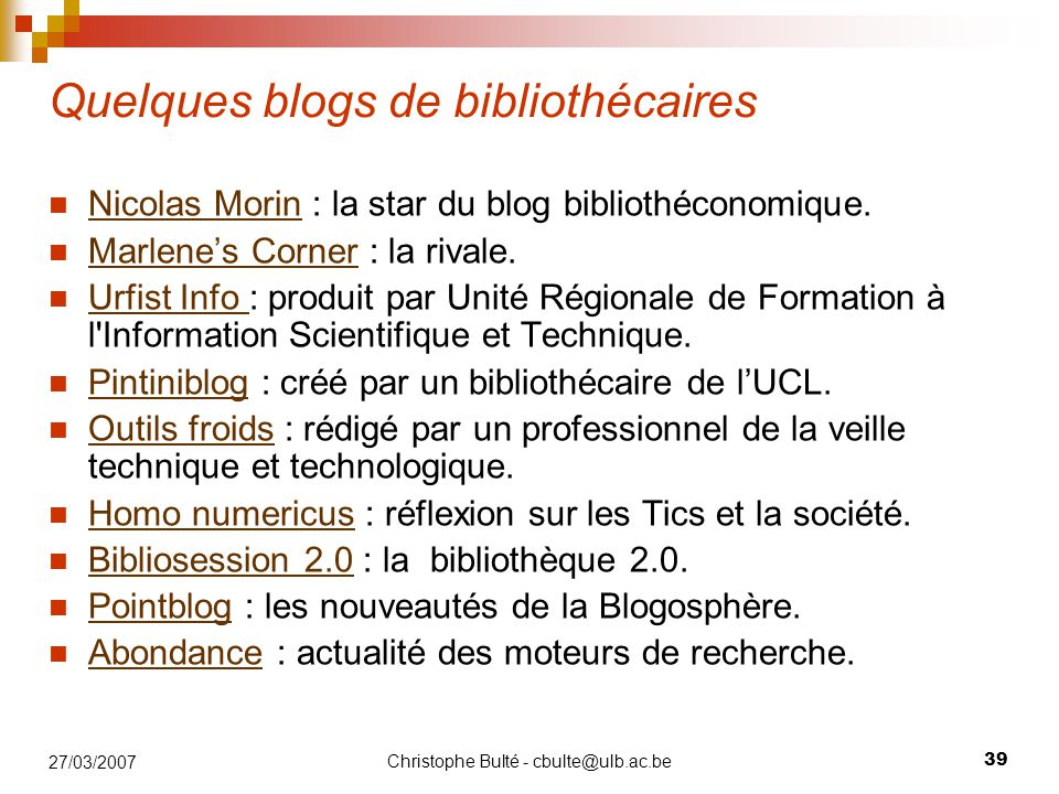 Quelques blogs de bibliothécaires