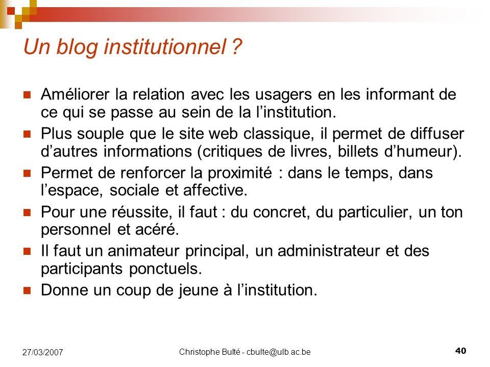 Un blog institutionnel