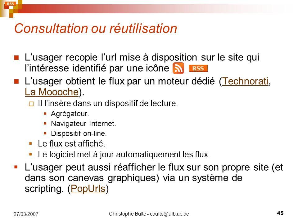 Consultation ou réutilisation