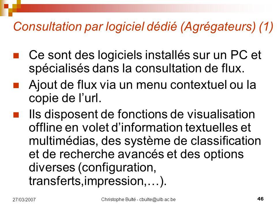 Consultation par logiciel dédié (Agrégateurs) (1)