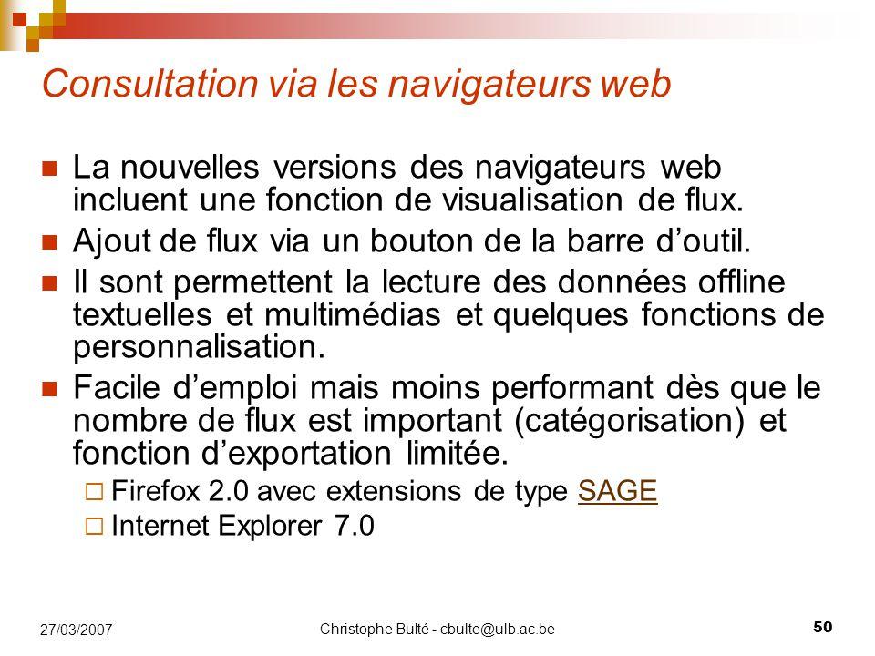 Consultation via les navigateurs web