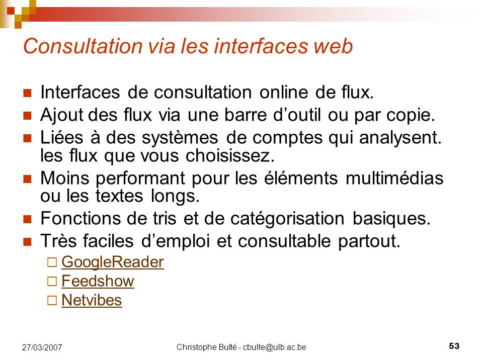 Consultation via les interfaces web