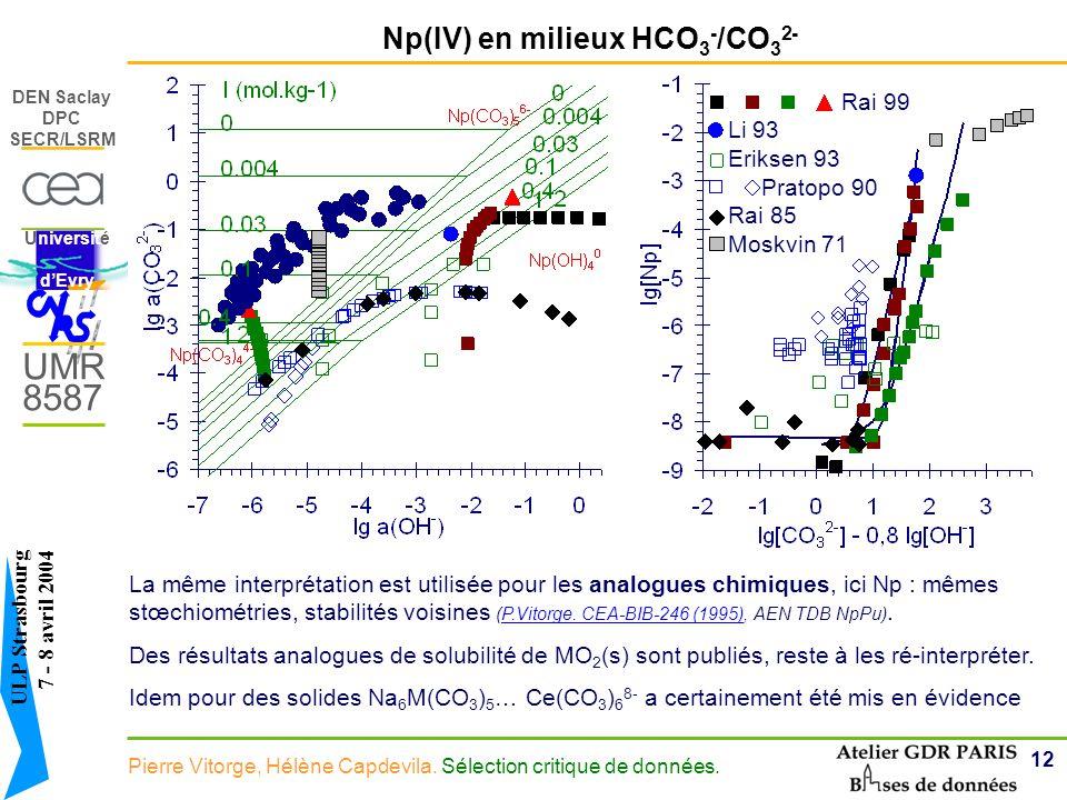 Np(IV) en milieux HCO3-/CO32-