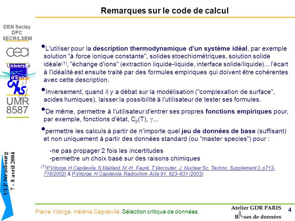 Remarques sur le code de calcul