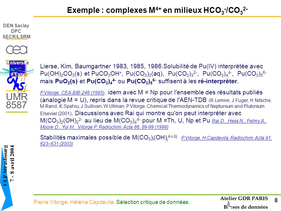 Exemple : complexes M4+ en milieux HCO3-/CO32-