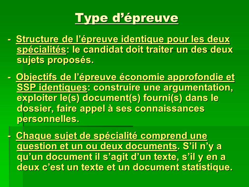 Type d'épreuve - Structure de l'épreuve identique pour les deux spécialités: le candidat doit traiter un des deux sujets proposés.