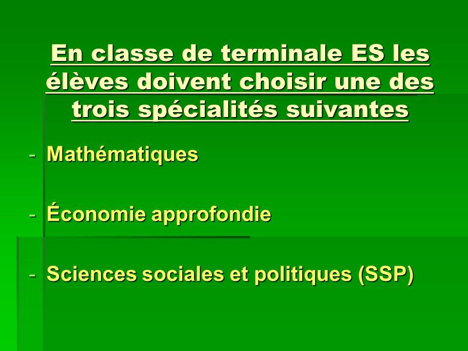 En classe de terminale ES les élèves doivent choisir une des trois spécialités suivantes