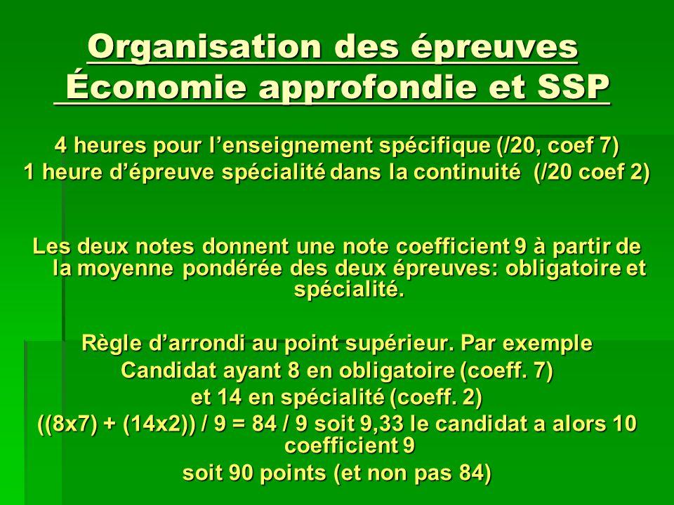 Organisation des épreuves Économie approfondie et SSP