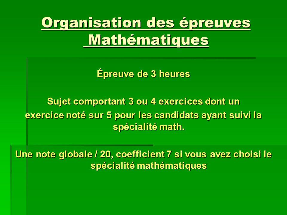 Organisation des épreuves Mathématiques