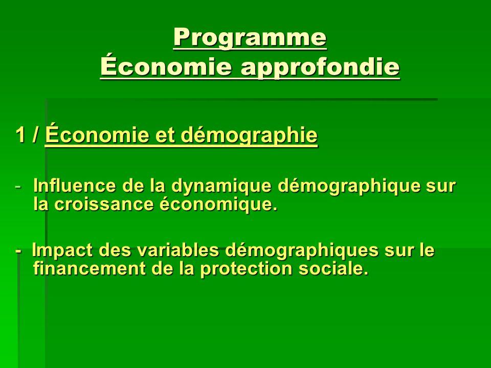Programme Économie approfondie
