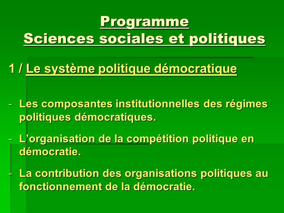 Programme Sciences sociales et politiques