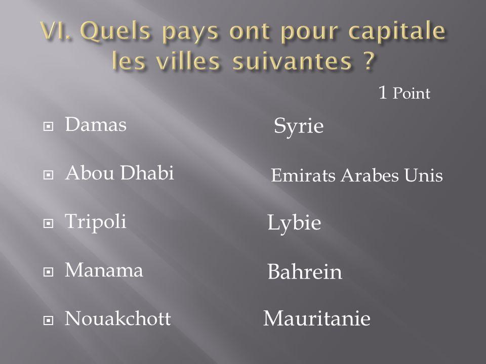 VI. Quels pays ont pour capitale les villes suivantes