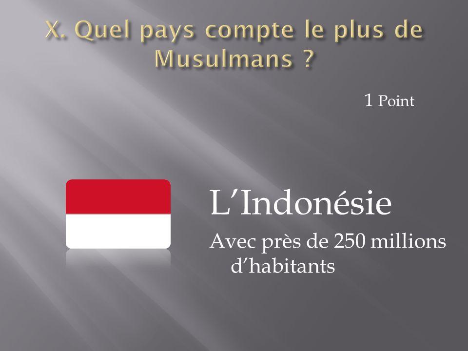 X. Quel pays compte le plus de Musulmans