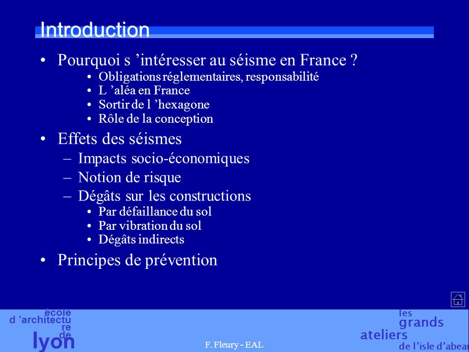 Introduction Pourquoi s 'intéresser au séisme en France