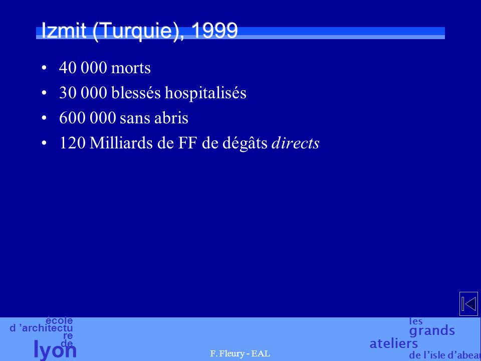 Izmit (Turquie), 1999 40 000 morts 30 000 blessés hospitalisés
