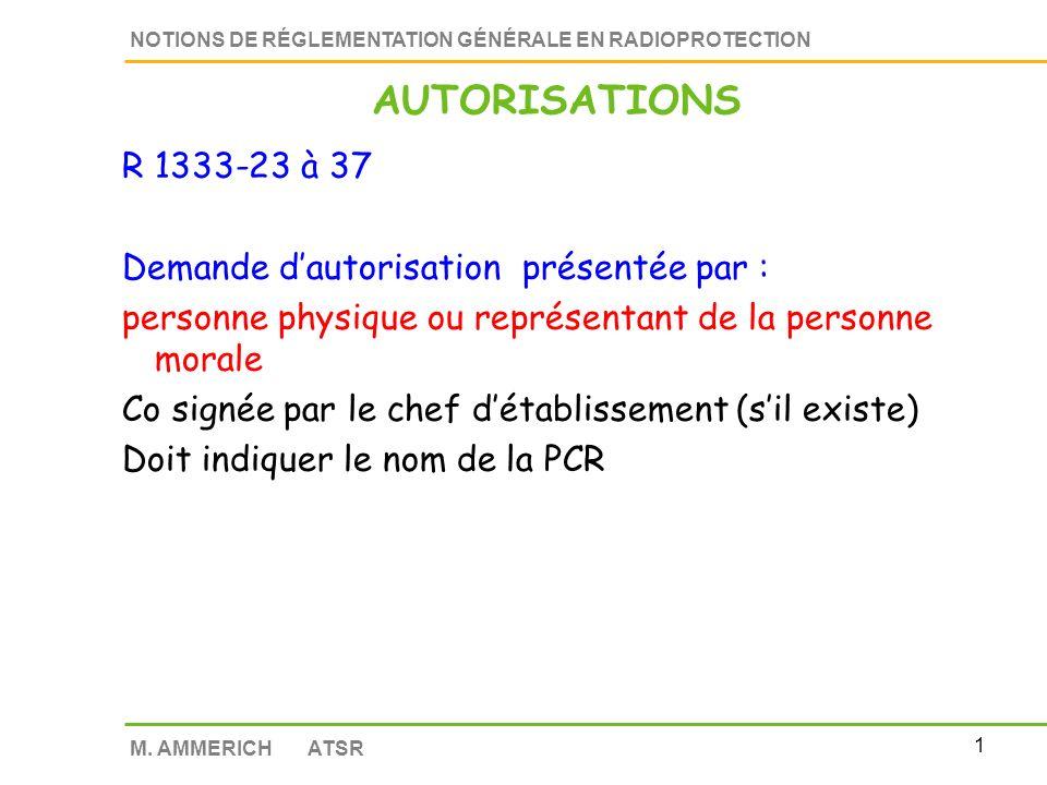 AUTORISATIONS R 1333-23 à 37 Demande d'autorisation présentée par :