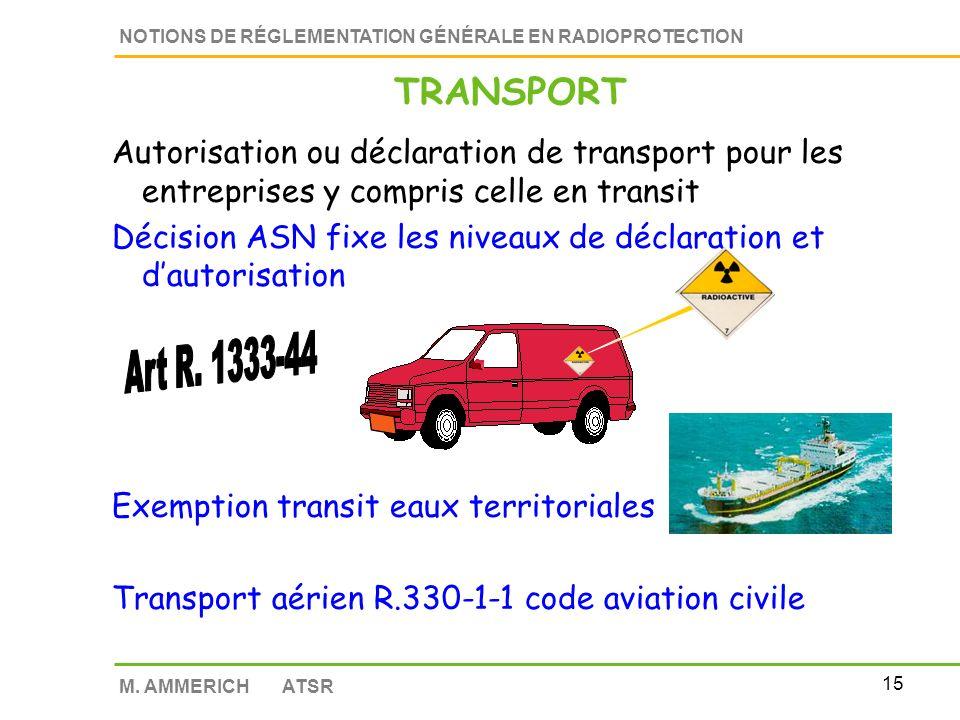 TRANSPORT Autorisation ou déclaration de transport pour les entreprises y compris celle en transit.