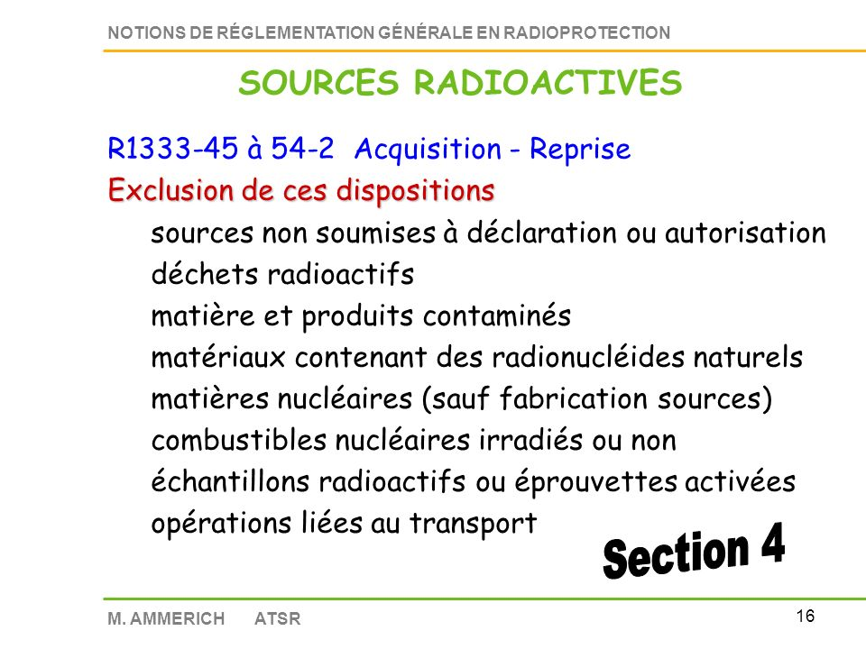 SOURCES RADIOACTIVES R1333-45 à 54-2 Acquisition - Reprise