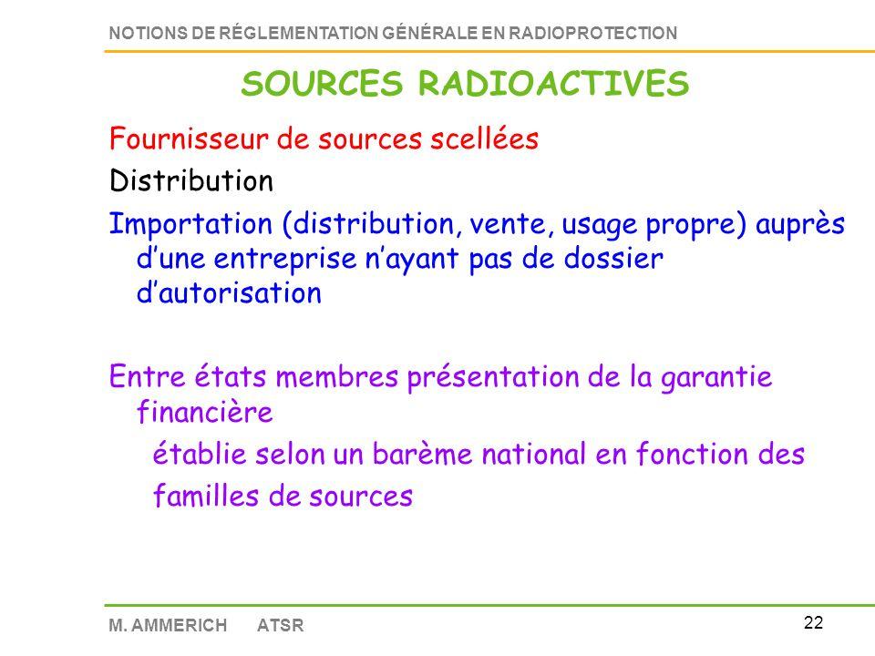 SOURCES RADIOACTIVES Fournisseur de sources scellées Distribution