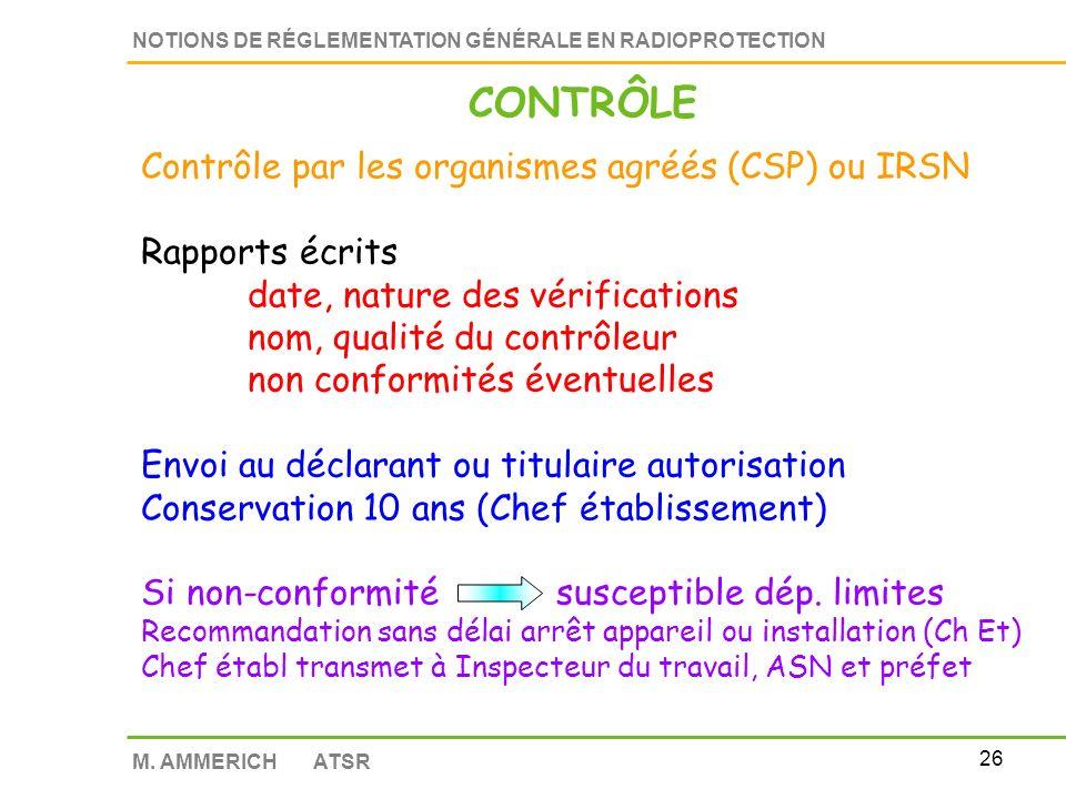 CONTRÔLE Contrôle par les organismes agréés (CSP) ou IRSN