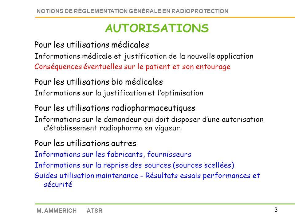 AUTORISATIONS Pour les utilisations médicales