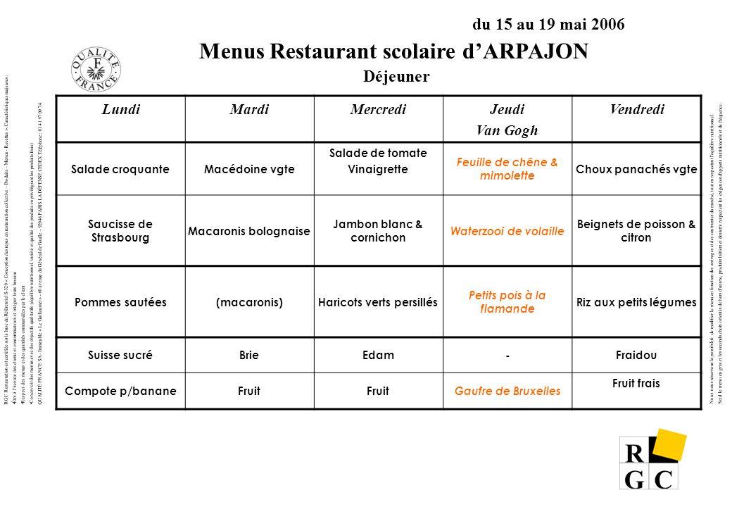 Menus Restaurant scolaire d'ARPAJON