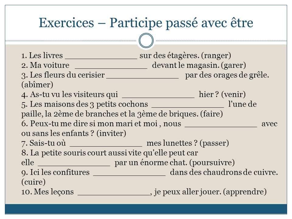 Exercices – Participe passé avec être