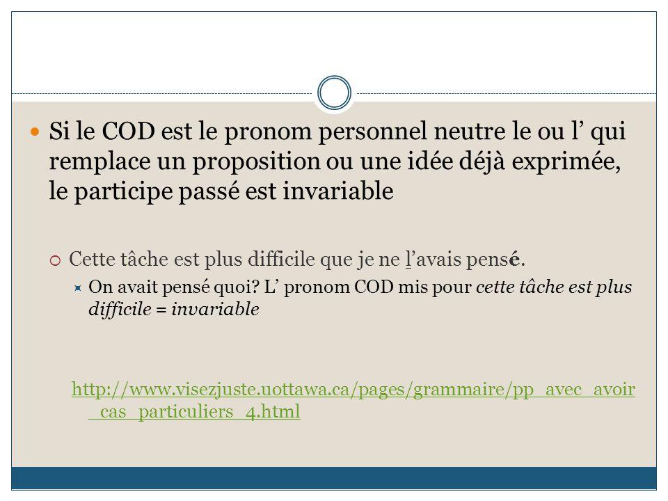 Si le COD est le pronom personnel neutre le ou l' qui remplace un proposition ou une idée déjà exprimée, le participe passé est invariable