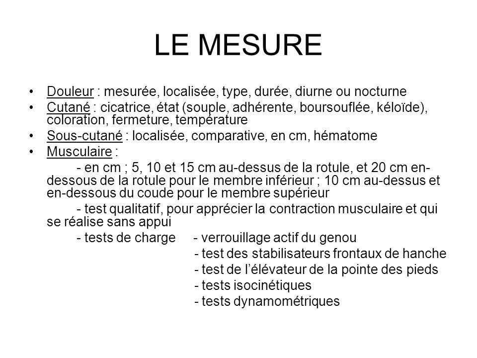 LE MESURE Douleur : mesurée, localisée, type, durée, diurne ou nocturne.