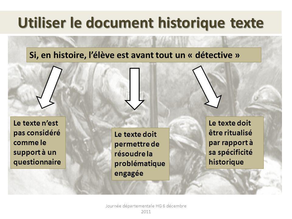 Utiliser le document historique texte