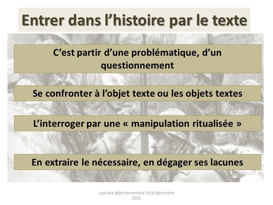 Entrer dans l'histoire par le texte
