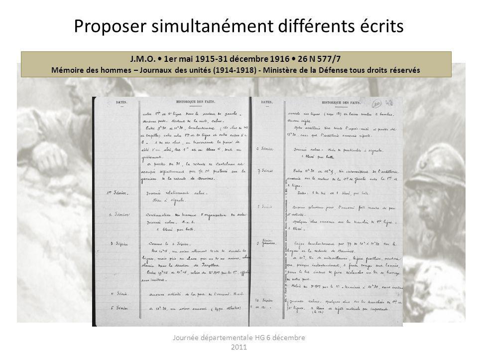 Proposer simultanément différents écrits