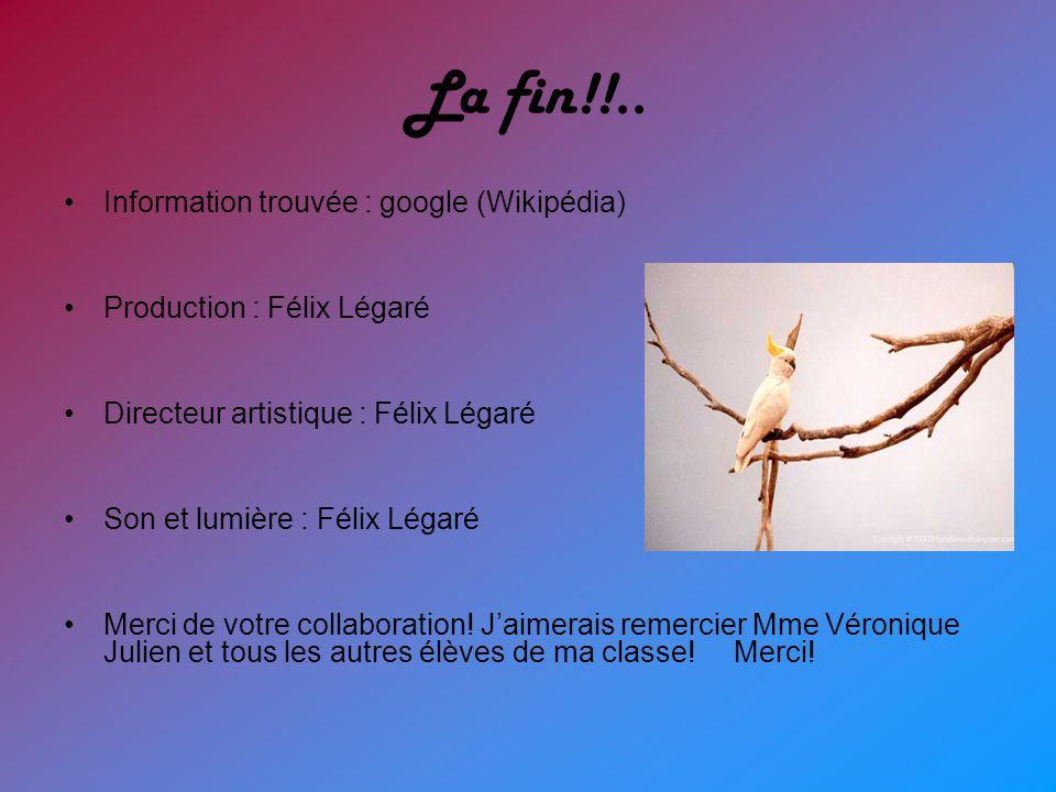 La fin!!.. Information trouvée : google (Wikipédia)