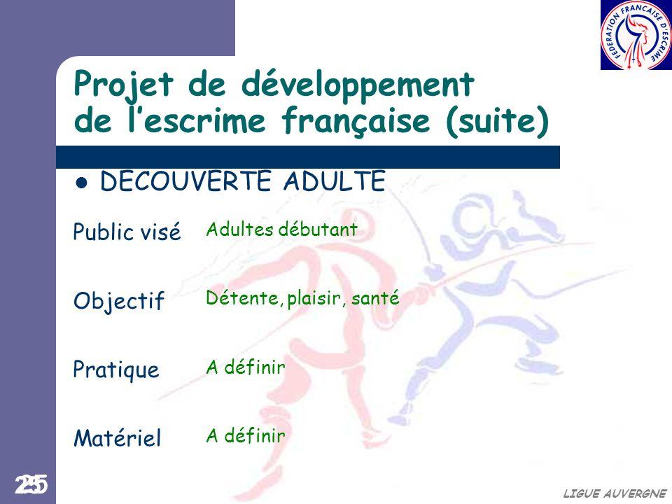 Projet de développement de l'escrime française (suite)
