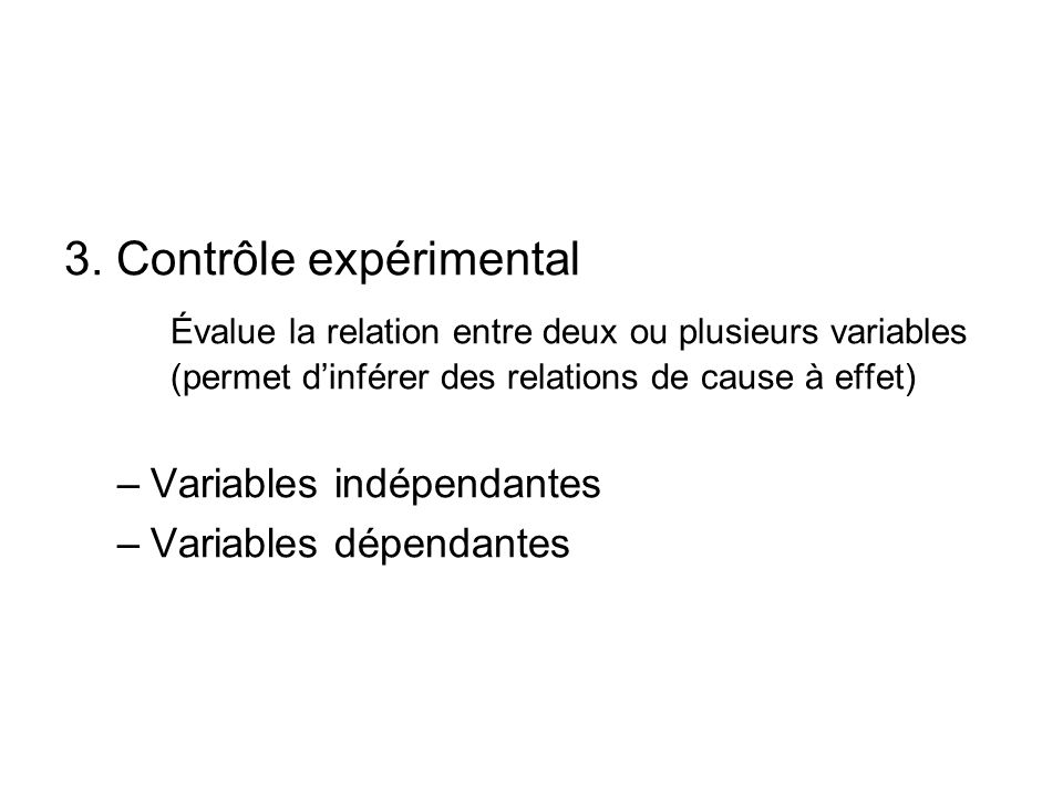 3. Contrôle expérimental