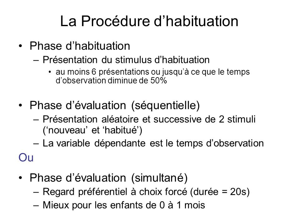 La Procédure d'habituation