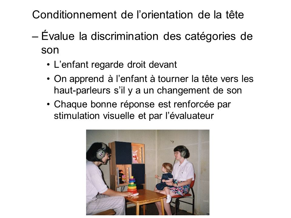 Conditionnement de l'orientation de la tête