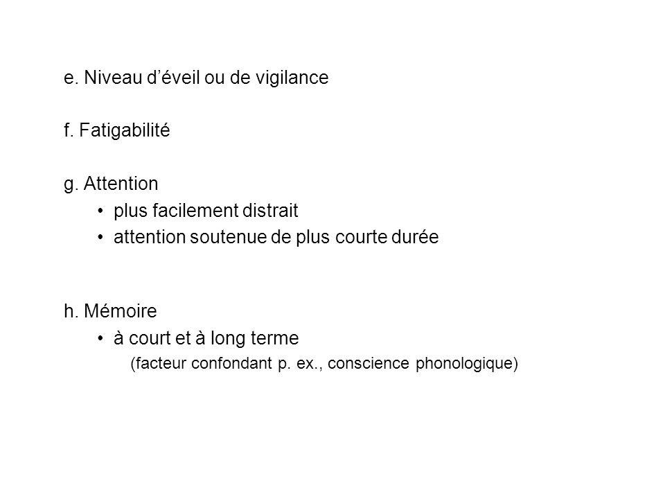 e. Niveau d'éveil ou de vigilance f. Fatigabilité g. Attention